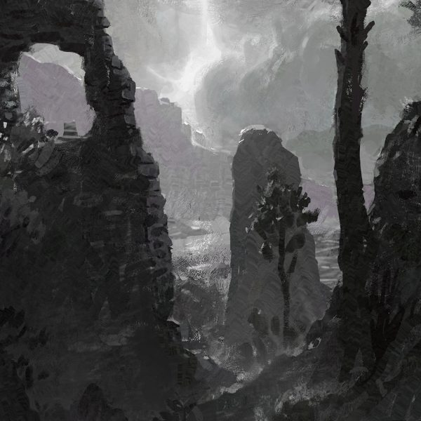 close up of a classy scenery painting of a ruin city