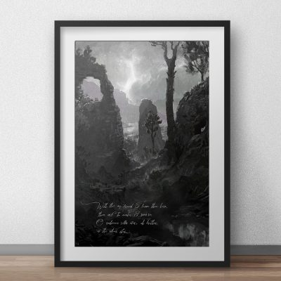 dark fantasy scenery painting of old over grown ruins in a wetland
