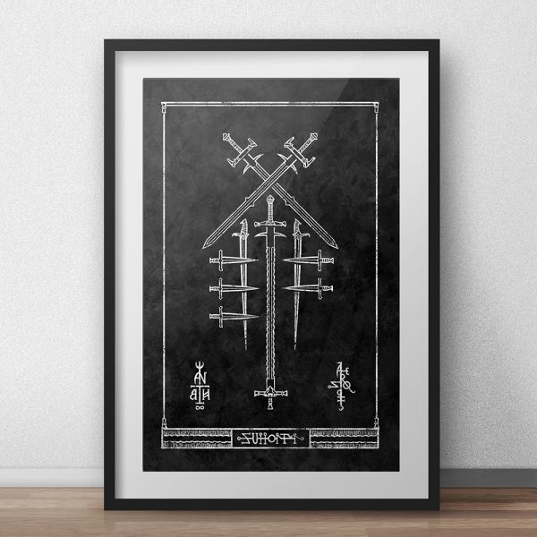 occult art print of a blade constellation after crowley's dagger alphabet