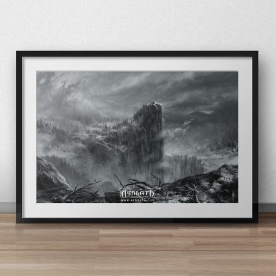 a winterly landscape with a mountain raising above the scenery. frozen ruins are crowning the mountain on the path of a viking warrior.