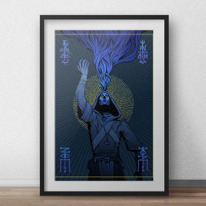 the major arcana card of the magus in blue colors with gold accents looking up into the sky