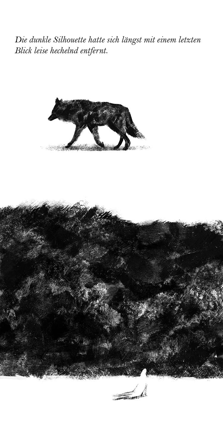 dunkler wolf verschwindet