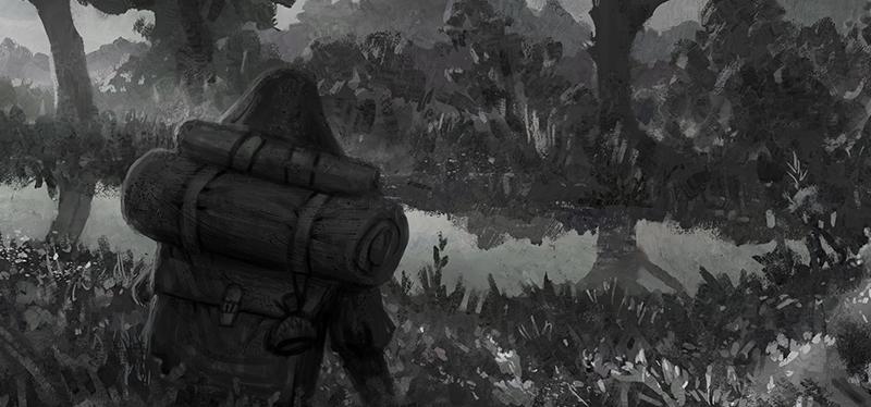 mystical journey illustration of wanderer at lake
