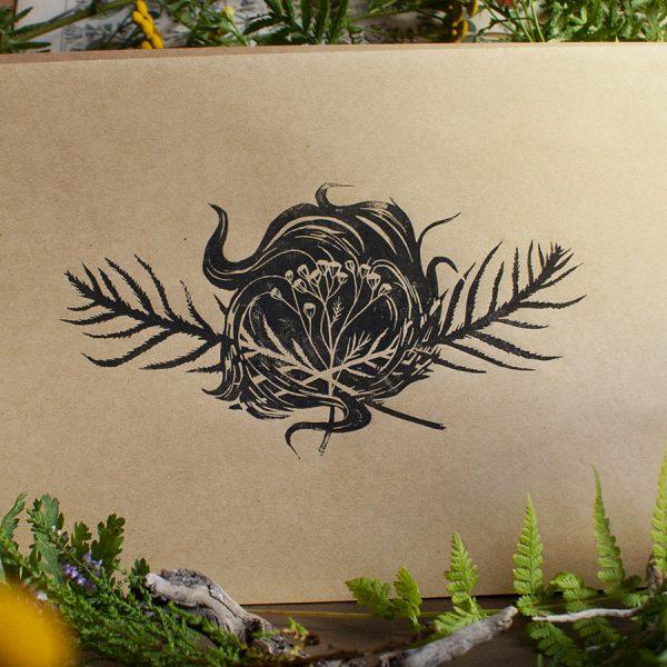 tansy the herb of immortality. rainfarn kunstdruck als linolschnitt